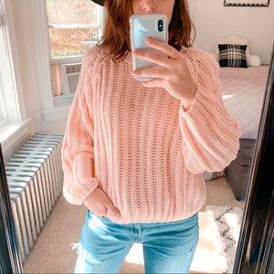 VINTAGE | Light Pink Cropped Ballon Sleeve Sweater